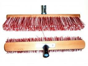 Straßenbesen rot - weiss - 140 cm Gerätestiel Holz