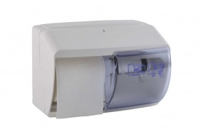 Toilettenpapierspender / weiß für 2 Rollen abschließbar